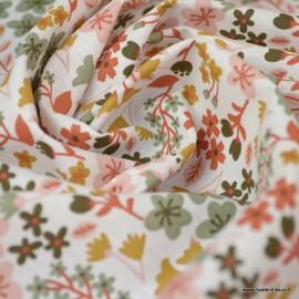 Tissu coton imprimé petites fleurs Rose thé et Thym -  Oeko tex - Motif Milly