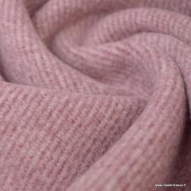 Tissu Lainage rayures vieux rose pour caban ou manteau