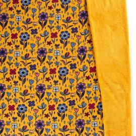 Tissu Sweat envers Minky motifs fleurs fond Ocre - oeko tex