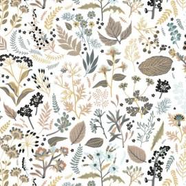 Tissu Popeline en coton Bio & oeko tex motifs fleurs et oiseaux fond Sable, ocre et menthe