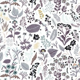 Tissu Popeline en coton Bio & oeko tex motifs fleurs et oiseaux Lilas et Marine