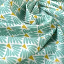 Tissu coton imprimé écailles - Turquoise