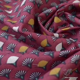 Tissu coton imprimé éventails écailles Bordeaux et Camel - Oeko tex