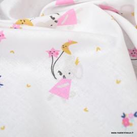Tissu coton Misty imprimé souris et fleurs blanc et rose -  Oeko tex