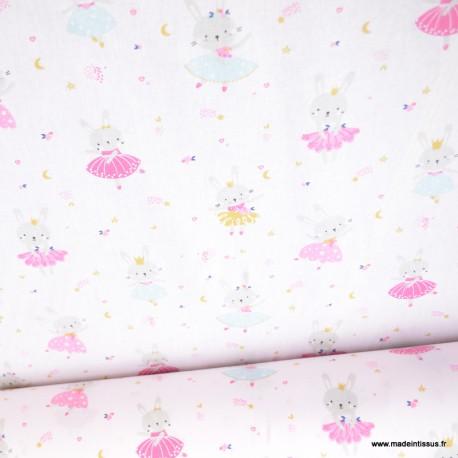 Tissu coton Lavigna imprimé lapins en tutu -  Oeko tex