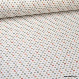 Tissu coton imprimé arc en ciel vert et roux - oeko tex
