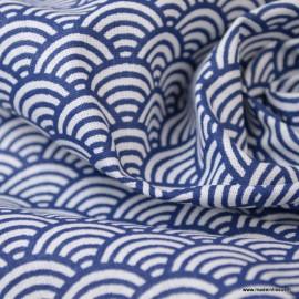 Tissu coton imprimé éventails écailles Japonaises Indigo - Oeko tex