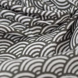 Tissu coton imprimé éventails écailles Japonaises Gris Anthracite - Oeko tex