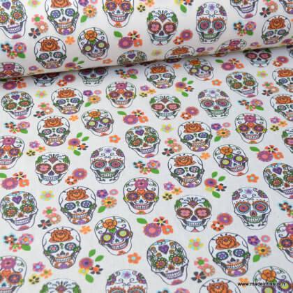 Tissu coton motif tête de mort Calavera fond Ivoire - Oeko tex