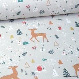 Tissu coton Caryboo motifs Caribous, sapins et étoiles de Noël - Oeko tex