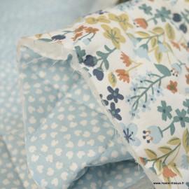 Tissu Matelassé coton double face thème Milly et Lipelo bleu Artic