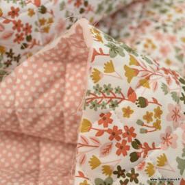 Tissu Matelassé coton double face thème Milly et Lipelo Rose