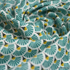 Tissu coton imprimé éventails écailles - Lagon