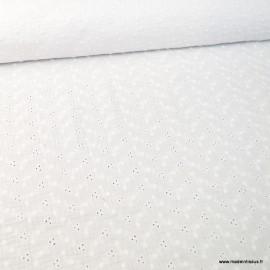 Tissu Double gaze brodée Adèle Blanc
