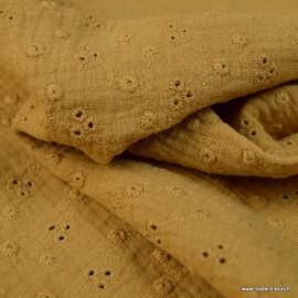 Tissu Double gaze brodée Adèle Camel