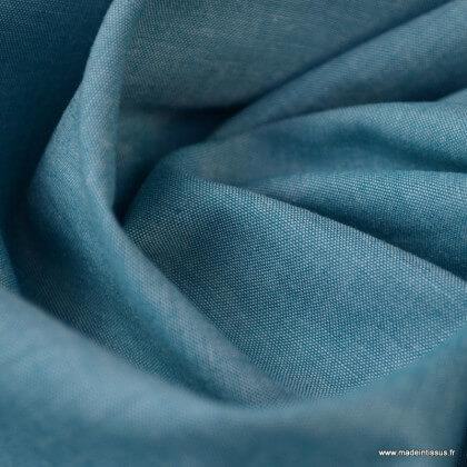 Tissu chambray coloris Pétrole - oeko tex