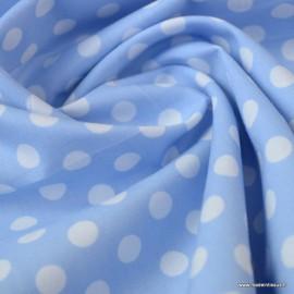 Tissu Popeline coton imprimé gros pois fond bleu ciel