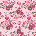 Tissu jersey French terry Oeko tex motifs oiseaux et fleurs fond Rose