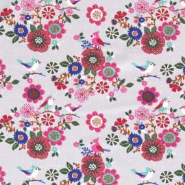 Tissu jersey French terry Oeko tex motifs oiseaux et fleurs fond Gris