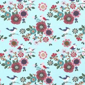 Tissu jersey French terry Oeko tex motifs oiseaux et fleurs fond Menthe