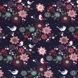 Tissu jersey French terry Oeko tex motifs oiseaux et fleurs fond Marine