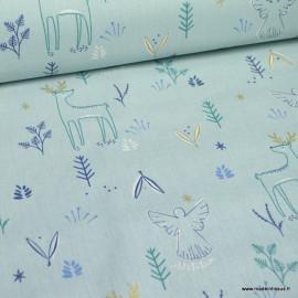 Tissu coton Magnus motifs reines et feuillage glacier et Or - Oeko tex