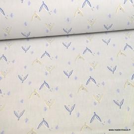 Tissu coton Jayden motifs feuilles gris clair et Or - Oeko tex