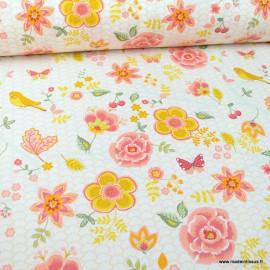 Tissu popeline Happy Feeling motifs fleurs et écailles ocre et rose - Oeko tex