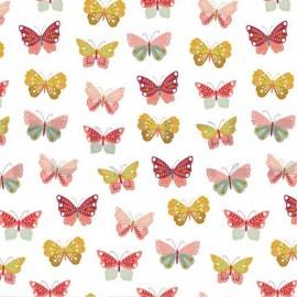Tissu Poppy popeline Happy Feeling motifs papillons ocre et rose - Oeko tex