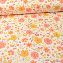 Tissu popeline Happy Feeling motifs fleurs ocre et rose fond blanc - Oeko tex
