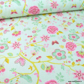 Tissu Poppy popeline Happy Feeling motifs fleurs, oiseaux et écailles Menthe - Oeko tex