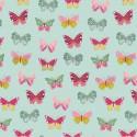 Tissu Poppy popeline Happy Feeling motifs papillons Menthe - Oeko tex