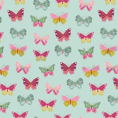 Tissu popeline Happy Feeling motifs papillons Menthe - Oeko tex