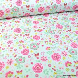 Tissu popeline Happy Feeling motifs fleurs fond Menthe - Oeko tex