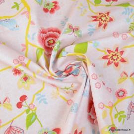 Tissu popeline Happy Feeling motifs fleurs, oiseaux et écailles ocre et rose - Oeko tex