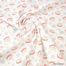 Tissu coton Tilou motifs têtes de renards rouille et écru - Oeko tex