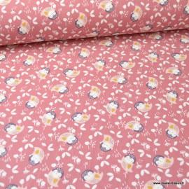 Tissu coton Kidia motifs chouettes fond Pêche - Oeko tex