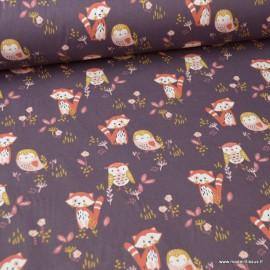 Tissu coton Sokidy motifs renards et chouettes fond prune - Oeko tex