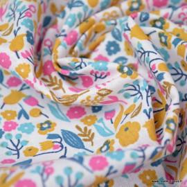 Tissu coton imprimé Alice petites fleurs Ocre et Bégonia -  Oeko tex