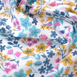 Tissu coton imprimé petites fleurs Turquoise et Bégonia -  Oeko tex - Motif Milly