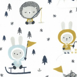 Tissu coton Skimo motifs esquimaux blanc et glacier - Oeko tex