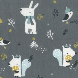 Tissu coton Woody motifs animaux dans les bois fond flanelle - Oeko tex
