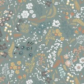 Tissu Popeline en coton Bio & oeko tex motifs fleurs et oiseaux fond Céladon