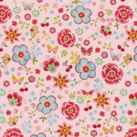 Tissu Poppy popeline Happy Feeling motifs fleurs fond Rose - Oeko tex