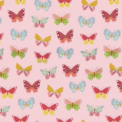 Tissu popeline Happy Feeling motifs papillons Rose - Oeko tex