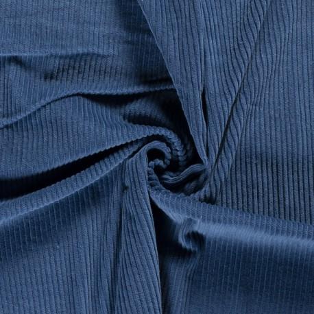 Tissu Velours cotelé grosses côtes Bleu Denim