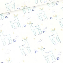 Tissu coton Kajsa motifs rênes bleu et Or - Oeko tex