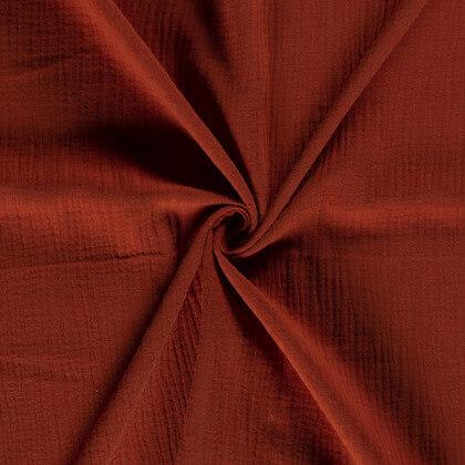Tissu Double gaze de coton Oeko tex Coloris Brique