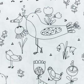 Tissu coton à colorier motifs Oiseaux et fleurs