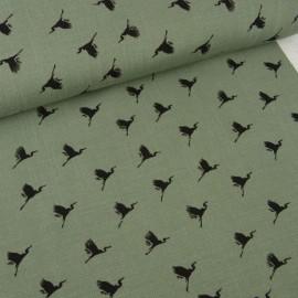 Tissu jersey de Viscose motifs oiseaux fond Kaki